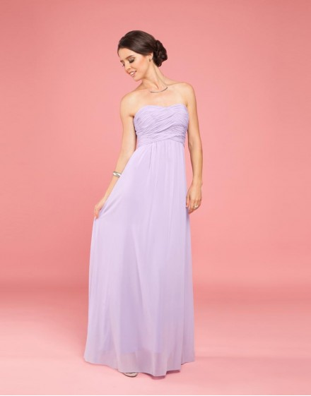 Vestido de Dama de Honor Strapless Color Lila Frente