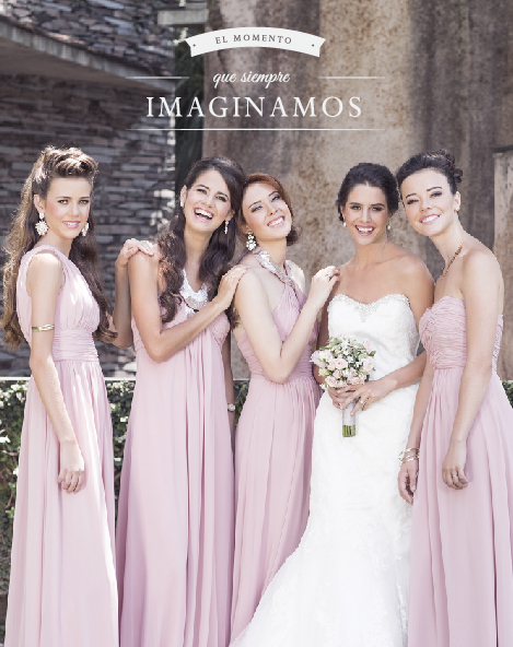 Damas de honor en México con vestidos color rosa palo de Bridesmaids Collection